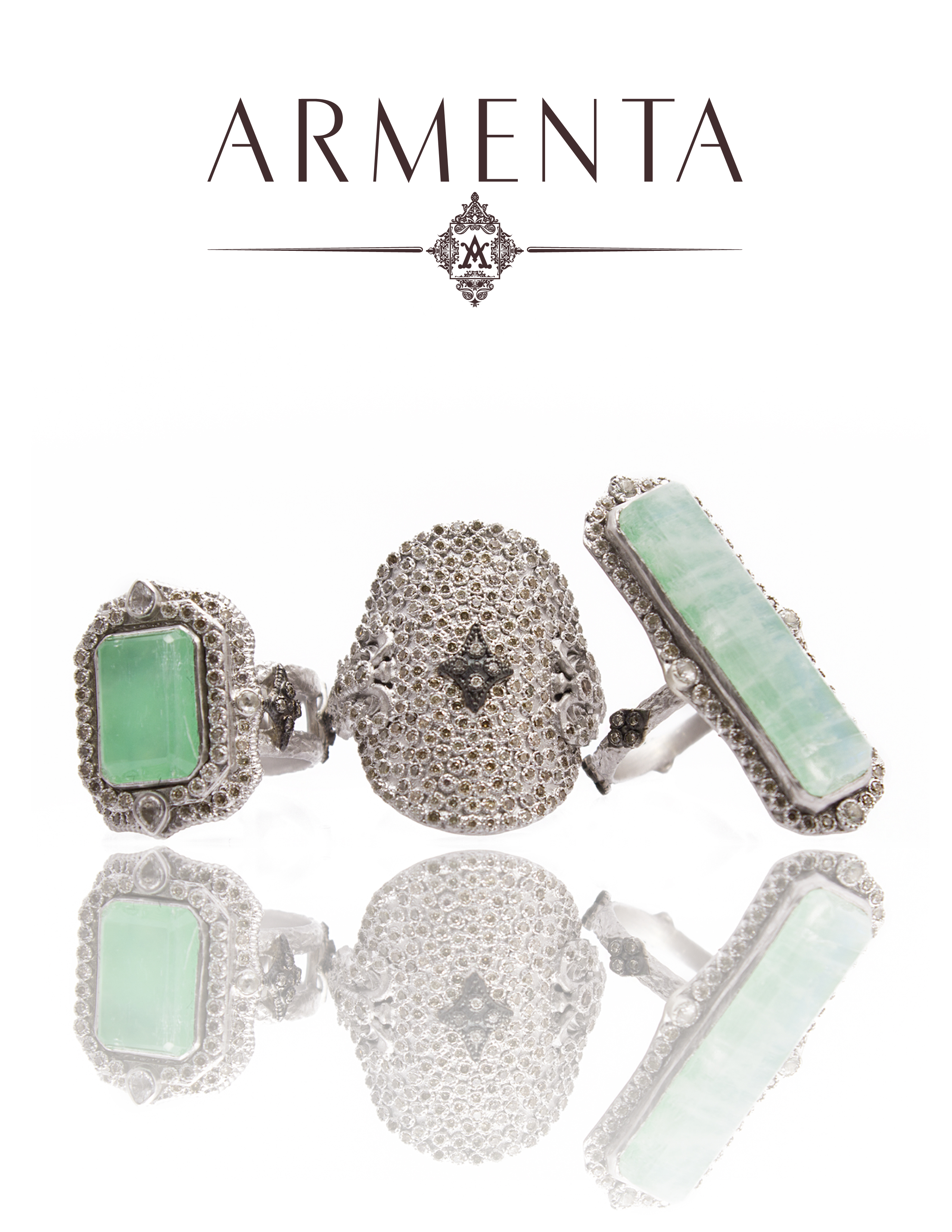 Armenta New World Chrysoprase and Rainbow Moonstone Ring Group