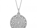 Beny Sofer Diamond Graduating Curved Pave Disc Pendant