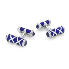 Deakin & Francis Sterling Silver Royal Blue Enamel and Garnet cufflinks