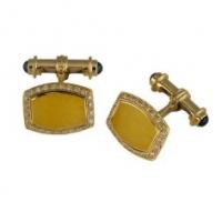 Deakin & Francis 18KT Yellow Gold Enamel Cufflinks