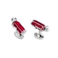 Deakin & Francis Sterling Silver Red Enamel Golf Bag Cufflinks