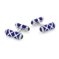 Deakin & Francis Sterling Silver Royal Blue Enamel and Garnet cufflinks