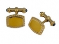 Deakin & Francis 18KT Yellow Gold Enamel Cufflinks