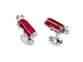 Deakin & Francis Sterling Silver Red Enamel Golf Bag Cufflinks
