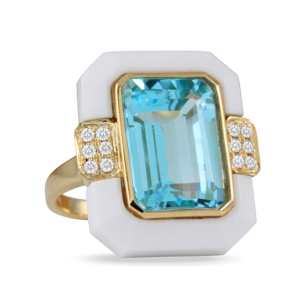 Doves 18KT Yellow Gold Blue Topaz Ring Set in White Agate