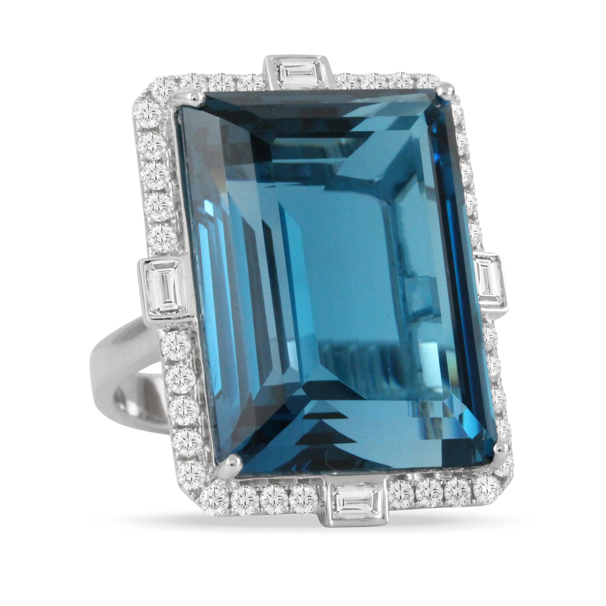 Doves 18KT White Gold 46.32ct London Blue Topaz Ring Surrounded by White Diamonds