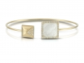 Doves 18KT Yellow Gold Mother of Pearl Bangle with White Topaz Overlay and Diamonds