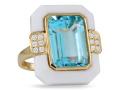 Doves 18KT Yellow Gold Blue Topaz Ring Set in White Agate
