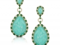 Doves 18KT Yellow Gold Earrings, with Diamond, Tsavorite and Amazonite with a White Topaz Overlay