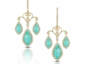 Doves 18KT Yellow Gold Amazonite Earrings with White Topaz Overlay and Diamonds