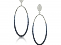 Doves 18KT White Gold Diamond And Blue Sapphire Oval Drop Earrings