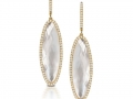 Doves 18KT Yellow Gold Earrings with Mother of Pearl and a White Topaz overlay and Diamonda