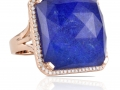Doves 18KT Rose Gold Ring with Lapis and a White Topaz Overlay and Diamonds