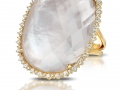 Doves 18KT Yellow Gold Ring with Mother of Pearl and a White Topaz overlay and Diamonds