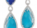 Doves 18KT White Gold Lapis and Turquoise Doublet Earrings with White Topaz Overlays and White Diamonds