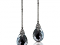 Doves 18KT Hematite Drop Earrings with Diamonds