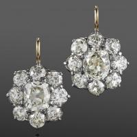 Fred Leighton Diamond Cluster Earrings
