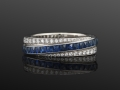 Fred Leighton Sapphire and Diamond Striped Ring