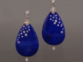 Fred Leighton Pear Shaped Lapis and Diamond Earrings