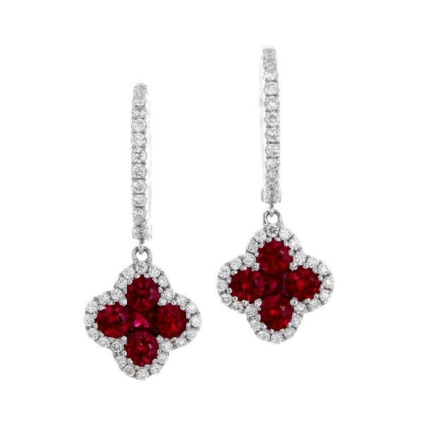 Gregg Ruth Ruby and Diamond Clover Earrings