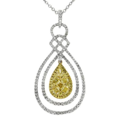 Gregg Ruth Pear Shaped Yellow Diamond Pendant