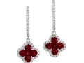 Gregg Ruth Ruby and Diamond Clover Earrings