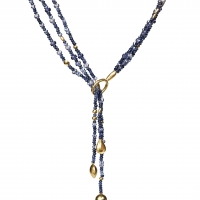 Gurhan 24KT Triple Strand Rain Flurries Scarf Necklace With Mixed Dark Blue Beads. Blue Sapphires, Iolite And Blue Quartz With Mixed Gold Drops