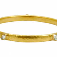 Gurhan 24KT Bangle with Five Rosecut Diamond Stations