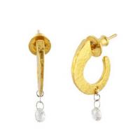 Gurhan 24KT Classic Dew Hoop With Single Diamond Briolette Earring
