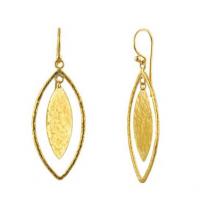 Gurhan 24KT Long Drop Willow Geo Marquise Geo Flake Earrings