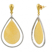 Gurhan 24KT Pave Diamond Pear Geo and Flake Earrings