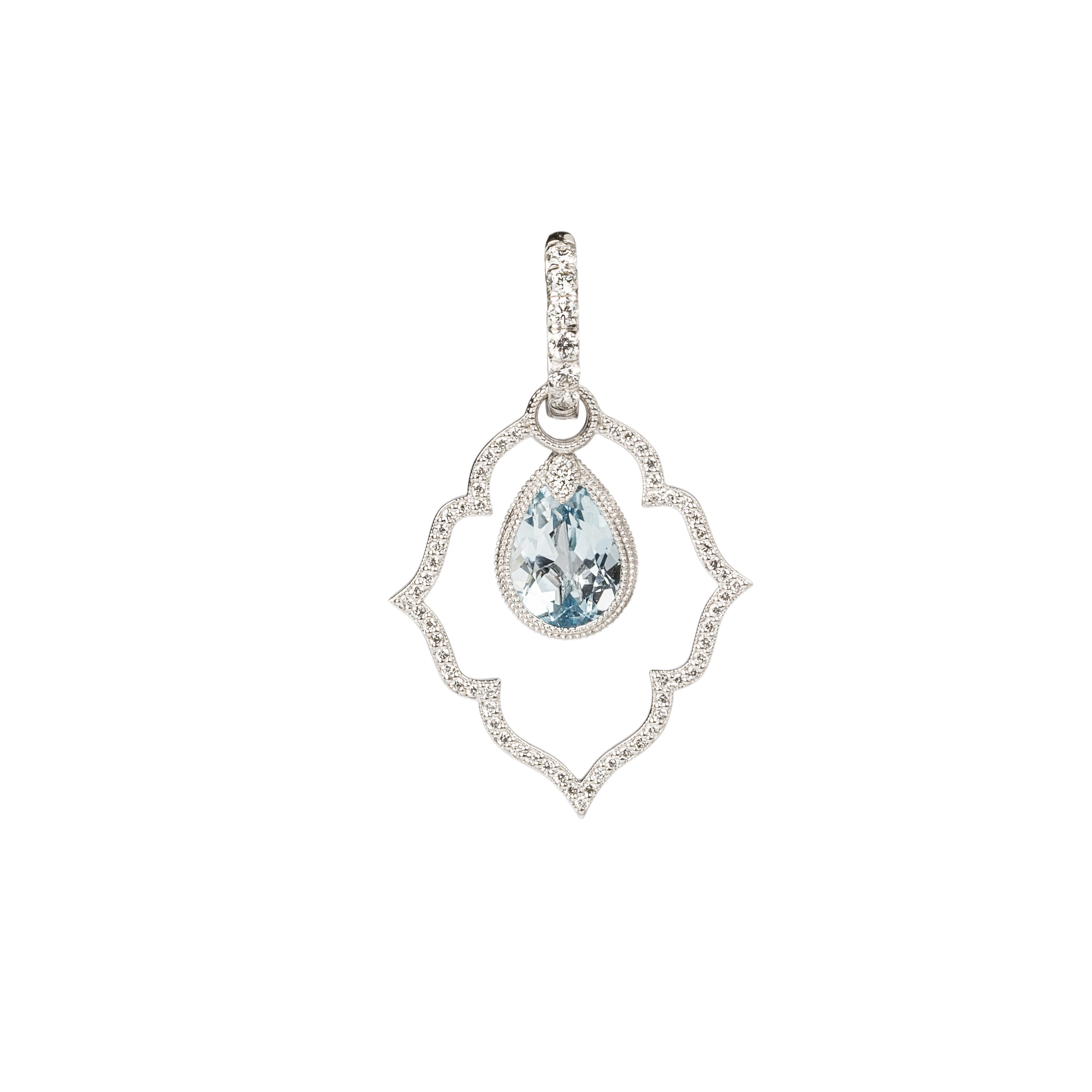 Jude Frances Blue Topaz Earrings Charms and Diamond Earring Charm Frames