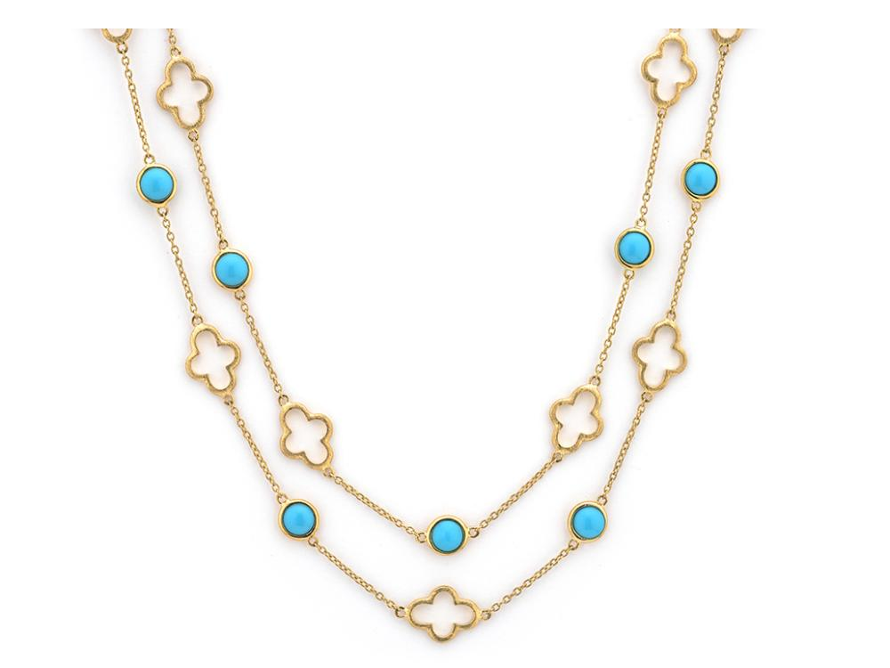 Jude Frances Clover and Turquoise Station Chain Necklace