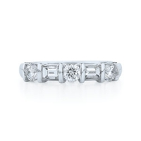 Kwiat Round Cut and Emerald Cut Diamond Band