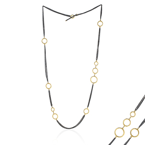 "Lika Behar 24KT and Oxidized Sterling Silver 36"" Adjustable ""Bubbles"" Multichain Necklace with 24KT Gold Asymmetical Circles and a Toggle Clasp"