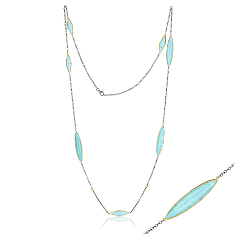 "Lika Behar 24KT Gold and Oxidized Sterling Silver ""Kara"" Necklace with Marquise Kingman Turquoise on an Oxidized Sterling Silver Adjsutable Chain 36""-38"""