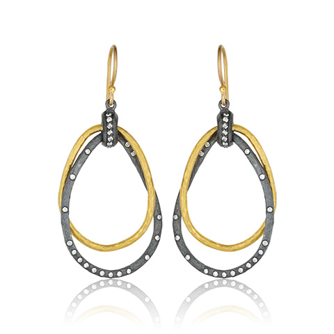 "Lika Behar 24KT Gold and Oxidized Sterling Silver ""Kelly"" Long Double Teardrop Earrings with Diamond Accents on a 22KT Gold Earwire, 0.38cts"