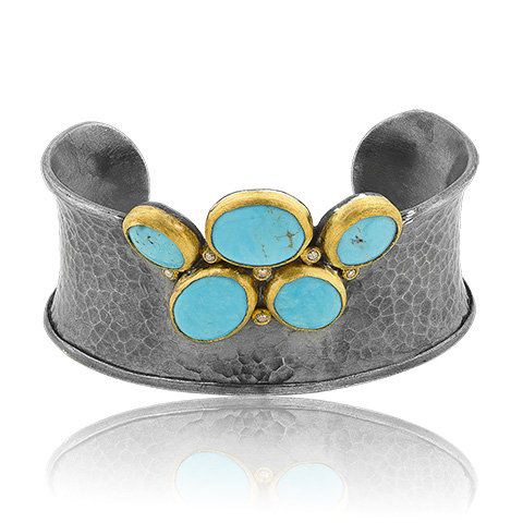 """Lika Behar 24KT Gold and Oxidized Sterling Silver """"Kirsten"""" Cuff Bracelet with Round and Oval Cabochon Kingman Turquoise Slices and Cognac Diamonds, (0.19cts)"""