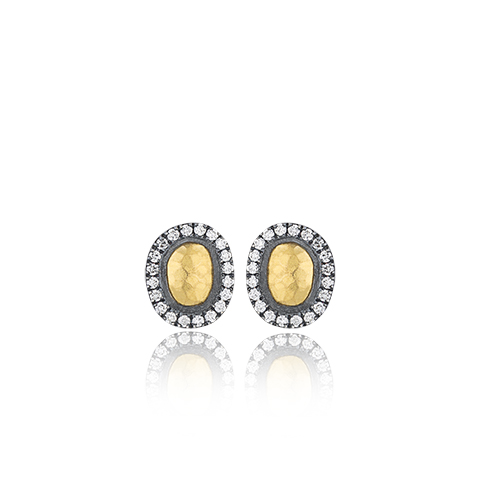"Lika Behar 24KT Gold and Oxidized Sterling Silver Small ""Reflections"" Hammered Gold Dome and Diamond Stud Earrings with 18KT Gold Posts, 0.39cts"