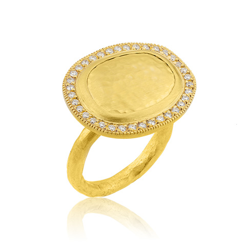 "Lika Behar 24KT Hammered Gold ""Reflections"" Rings with Diamonds, 0.42cts"