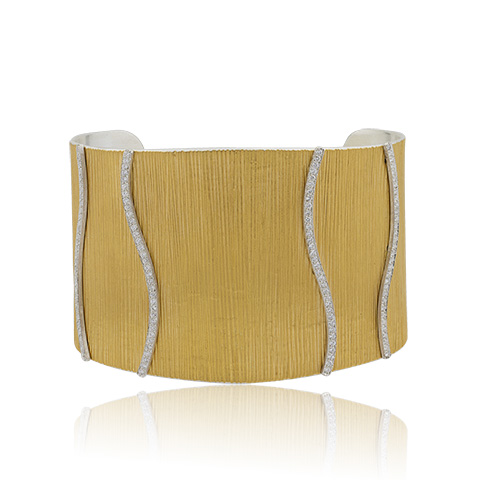 "Lika Behar 24KT Fusion Gold and Sterling Silver Textured ""Ripple"" Cuff with 2 Sets of Asymmetic Diamond Rows Set on Sterling Silver, 1.00cts, 47mm"