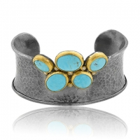 "Lika Behar 24KT Gold and Oxidized Sterling Silver ""Kirsten"" Cuff Bracelet with Round and Oval Cabochon Kingman Turquoise Slices and Cognac Diamonds, (0.19cts)"