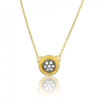 Lika Behar 24KT Gold and Oxidized Sterling Silver Center with Diamonds Krissy Necklace on an Adjustable All Gold Chain
