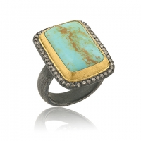 "ika Behar 24KT Gold and Oxidized Sterling Silver Smaller Rectangular Cabochon Kingman Turquoise ""My World"" Ring with Champagne Diamonds, 0.32cts"