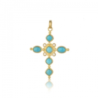"Lika Behar 22KT Gold Oval Cabochon and Cushion Cut Sleeping Beauty Turquoise Hammered ""Sloane"" Cross Necklace with Diamonds, 0.06cts"