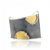 Lika Behar 24KT Gold and Oxidized Sterling Silver Hammered Waveup Asymmetric Cuff with 24KT Polka Dots and Diamonds, 0.46cts