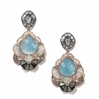 Nak Armstrong Milky White Sapphire, Aquamarine, Rainbow Moonstone, Green Tourmaline and Labradorite Earrings set in Recycled 18KT Rose Gold and Oxidized Sterling Silver