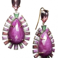 Nak Armstrong Mosaic Framed Ruby Zoisite Drop Earrings