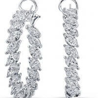 Norman Silverman Marquis Cut Diamond Hoop Earrings