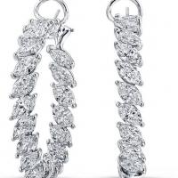 Norman Silverman Marquis Cut Diamond Hoop Earrings